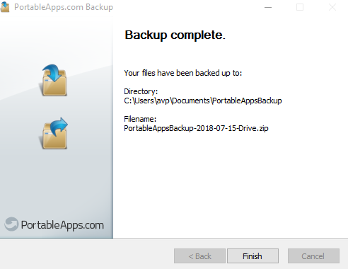 backup of installed portable apps complete when using PortableApps