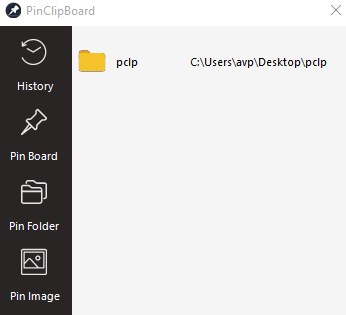 pin a specific folder in PinClipBoard