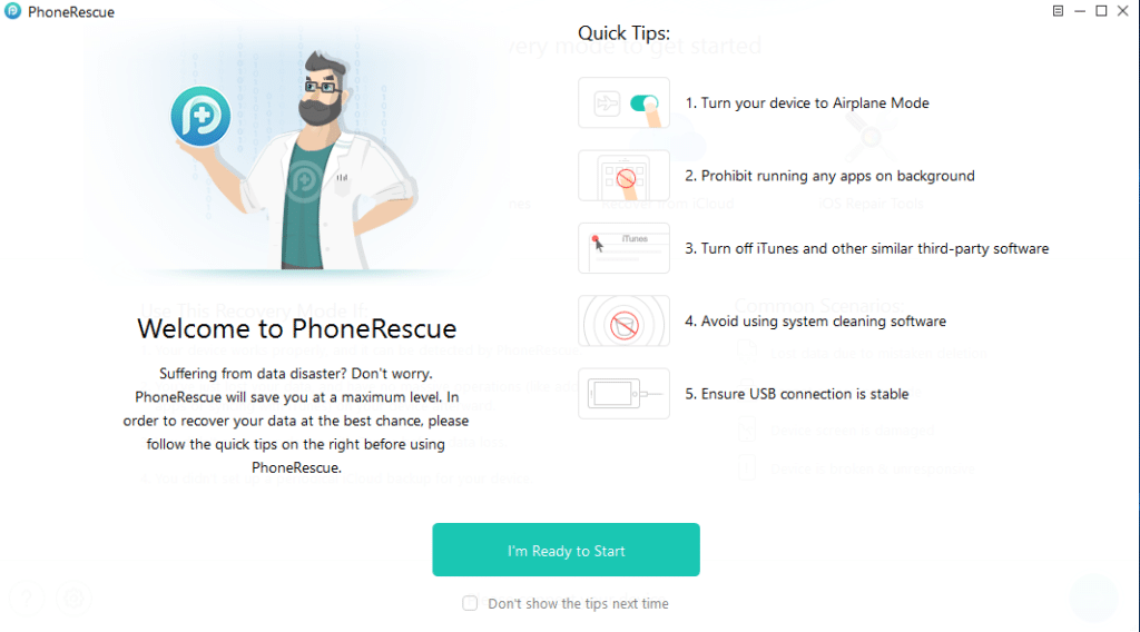 PhoneRescue for iOS start screen