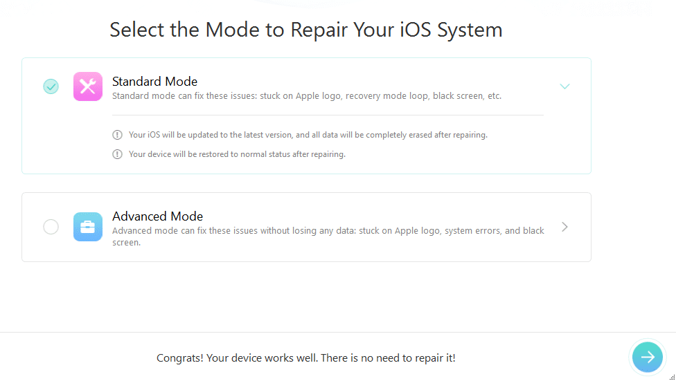 iOS Repair Tools option in PhoneRescue to recover data