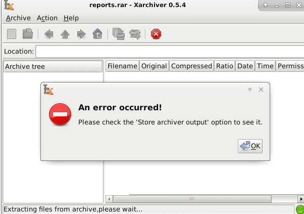error when using Xarchiver in Debian to extract RAR files