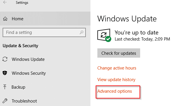 Windows 10 Update & Security settings