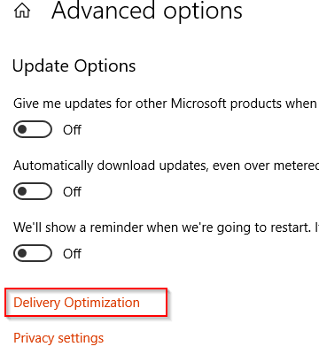 Delivery Optimization for Windows 10 updates