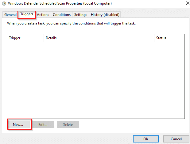 creating a schedule for Windows Defender scans to run in Windows 10