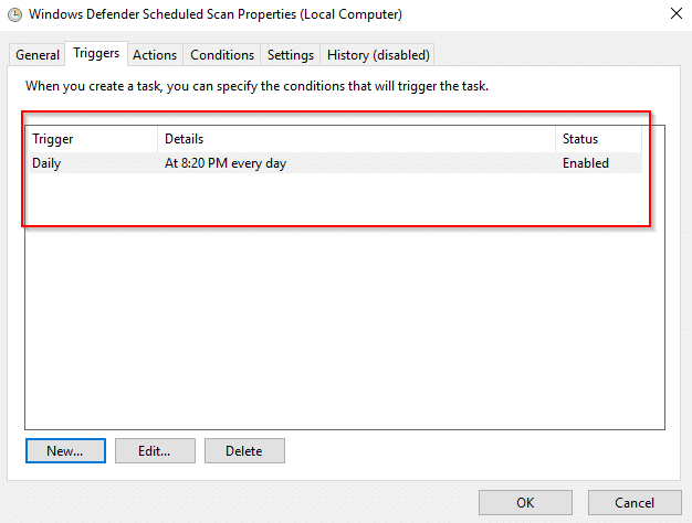 Scheduled scan enabled for Windows Defender