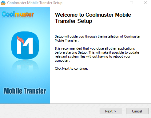 installing Coolmuster Mobile Transfer for Windows PC