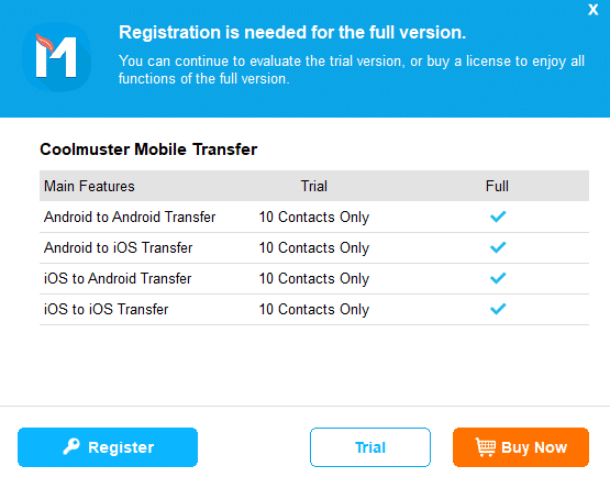 Coolmuster Mobile Transfer trial version limitations