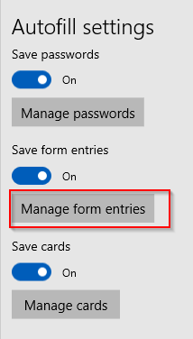 Autofill options in Edge