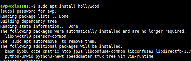 installing hollywood utility in Linux Mint