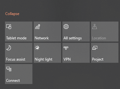 quick actions icons in Windows 10