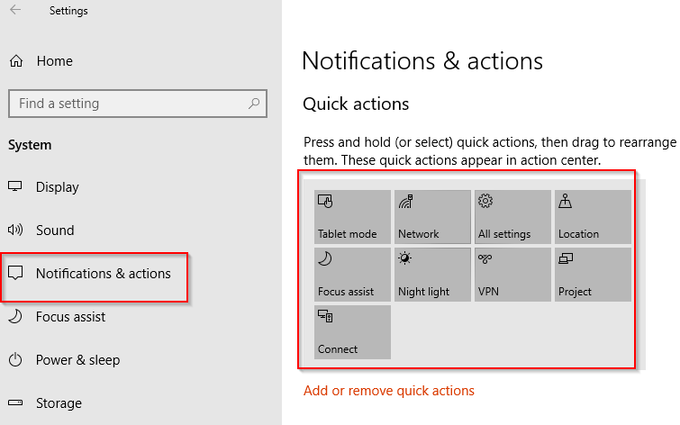 reordering quick actions icons in Windows 10
