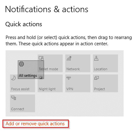 quick actions icons reordering