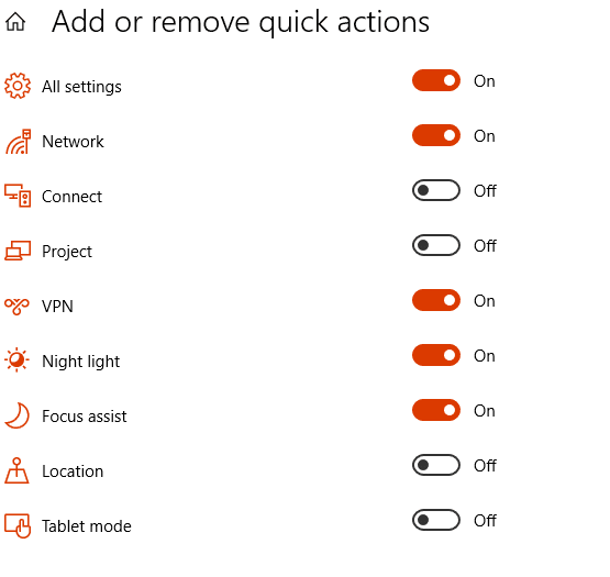 add and remove quick actions icons in Windows 10