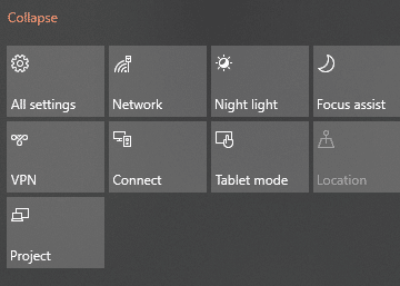 rearranged quick actions icons in Windows 10 notification area