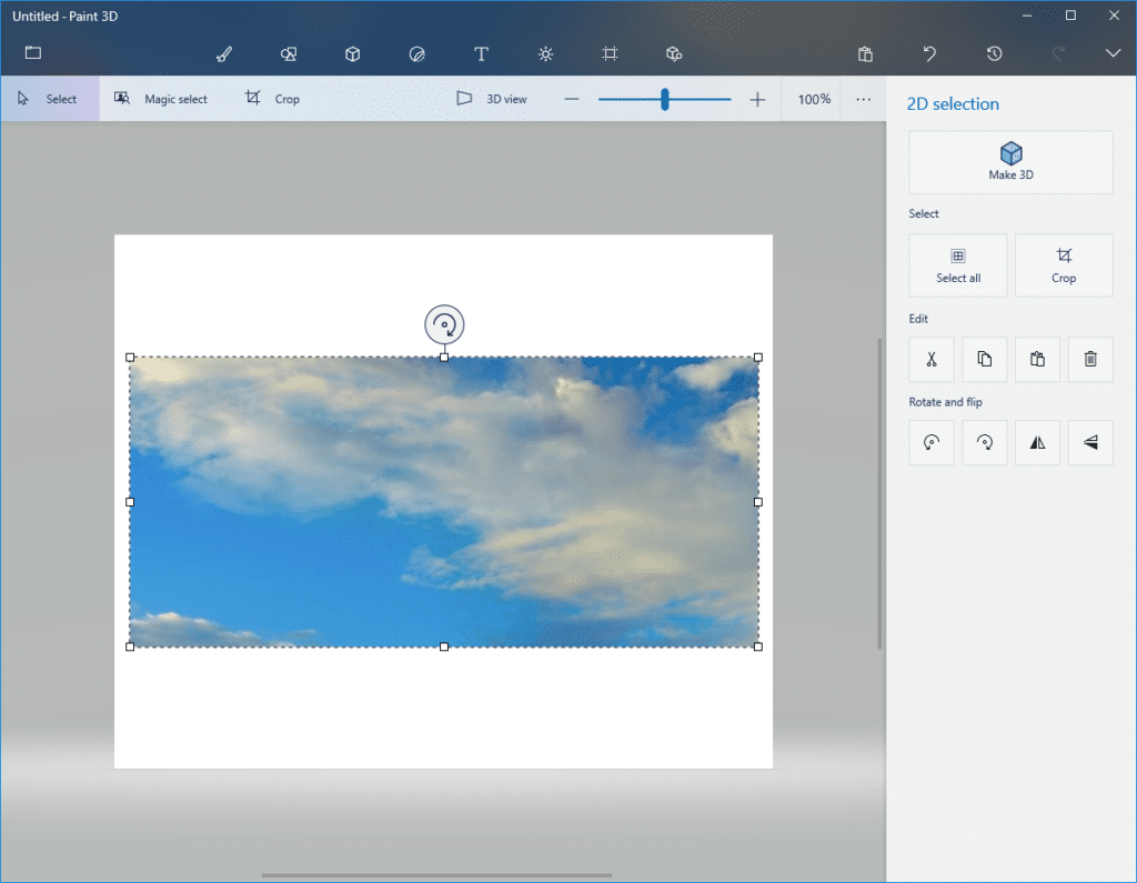 opening the screenshot using Paint 3D