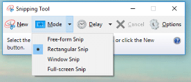 snipping tool to take region screenshot in Windows 10