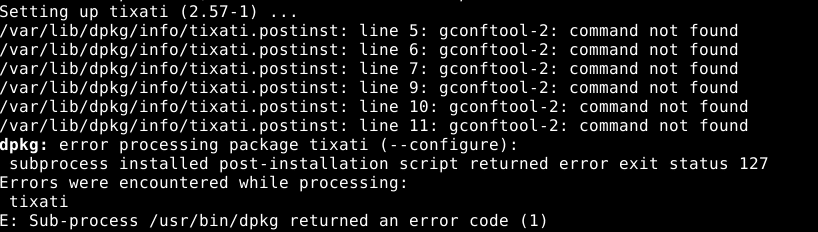Tixati installation errors in Debian