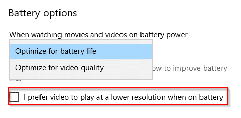 configuring video playback when on battery in Windows 10