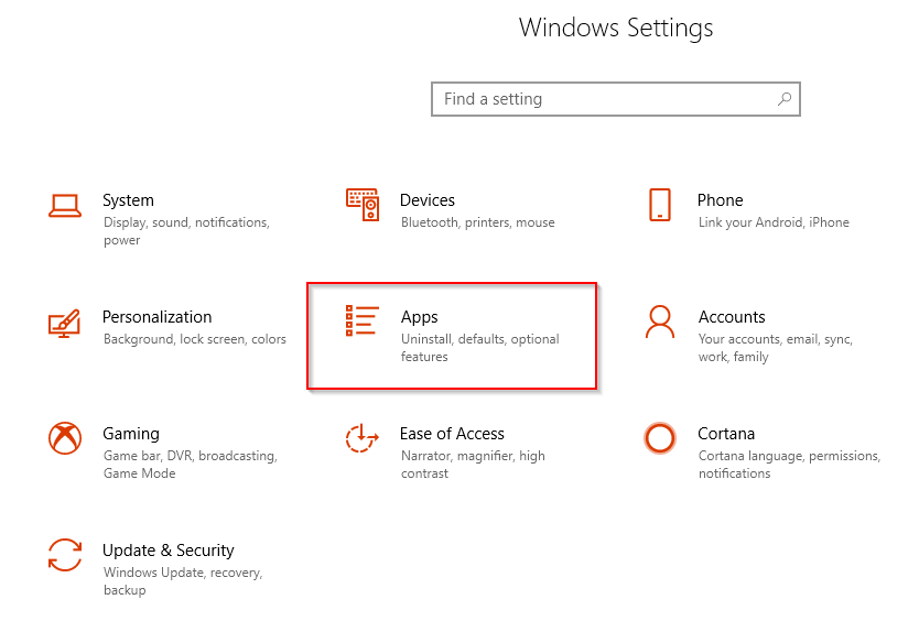 accessing Windows 10 Apps settings