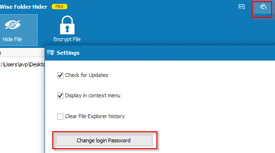 changing login password for Wise Folder Hider Pro