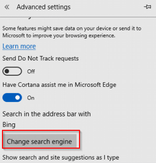 changing search engine in Edge browser