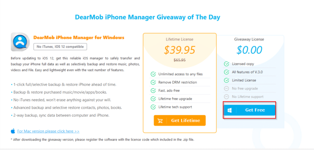 DearMob iPhone manager giveaway page