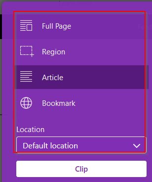 choosing what to clip using OneNote Firefox add-on