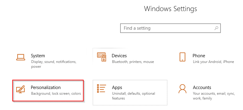 Personalization in Windows 10 settings