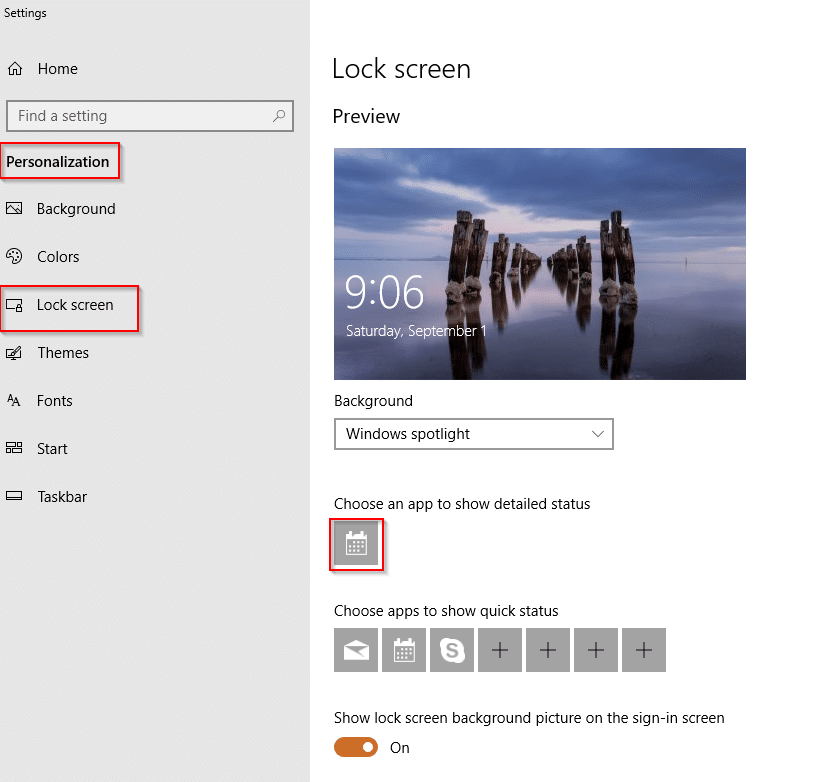 Lock screen settings in Windows 10
