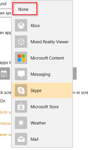 remove apps from displaying their quick status in Windows 10