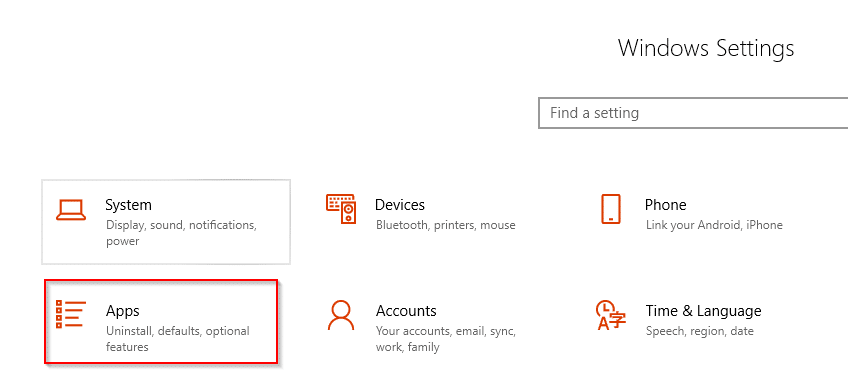 accessing Apps from Windows 10 settings