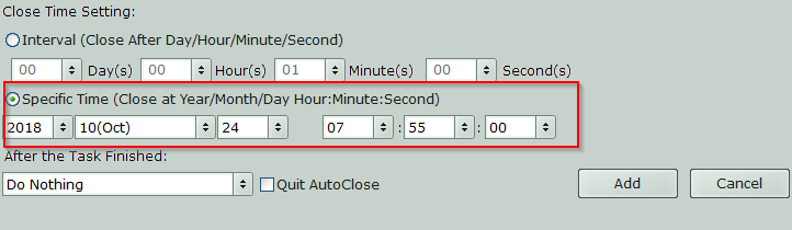 choosing a specific time to close programs using AutoClose