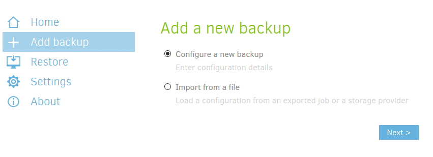 adding a new backup instance in Duplicati