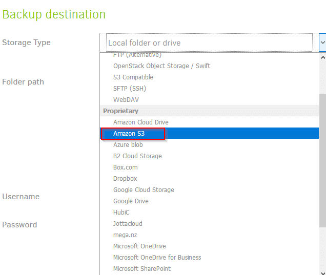 choosing backup destination as Amazon S3 in Duplicati