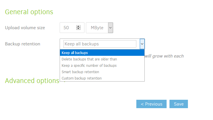configuring backup retention settings in Duplicati
