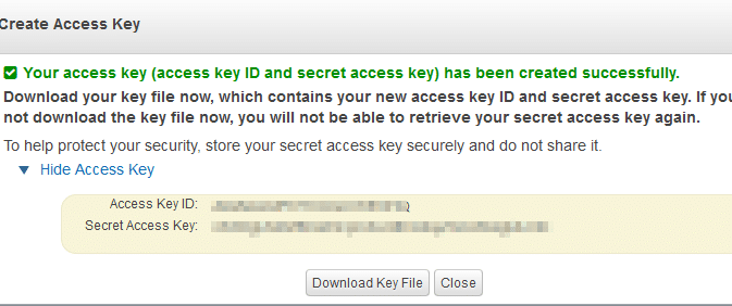AWS ID and key generated