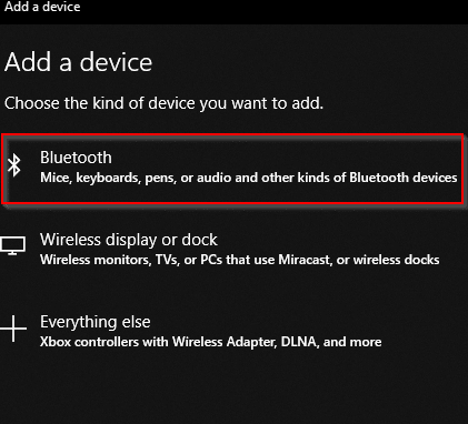 adding a Bluetooth device in Windows 10