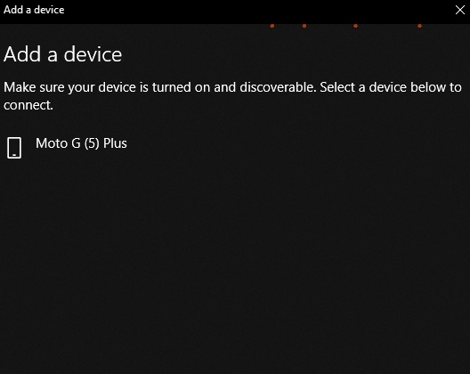 Bluetooth enabled phone detected in Windows 10 PC