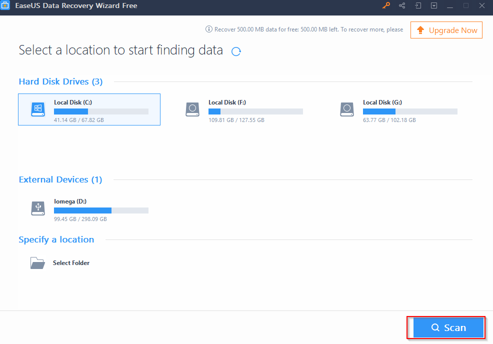 EaseUS Data Recovery Wizard Free interface