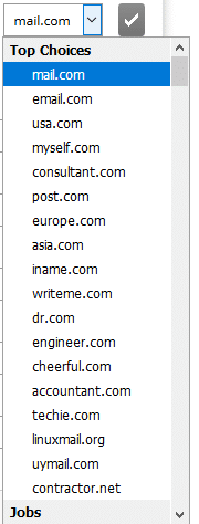 choosing a custom email domain in mail.com