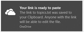 shareable onedrive link copied to clipboard