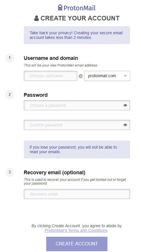 protonmail sign up page