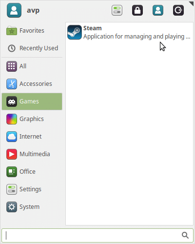 Steam client installed in Linux Mint