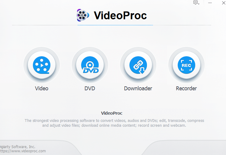 VideoProc main interface