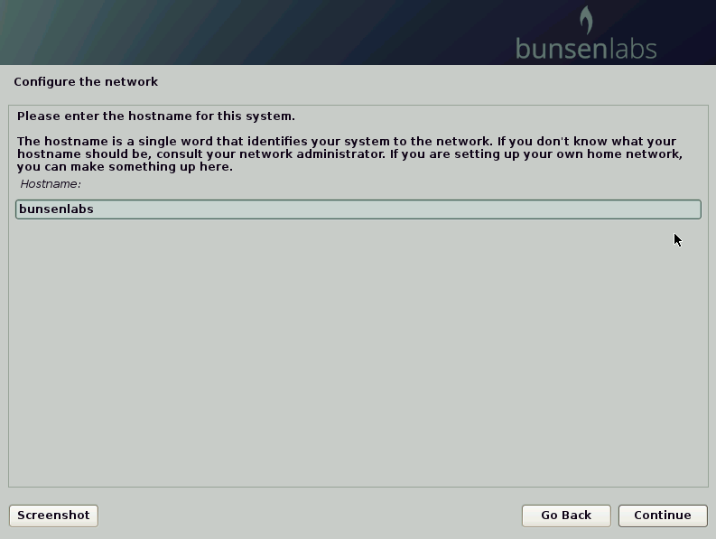 choosing a hostname for BunsenLabs installation