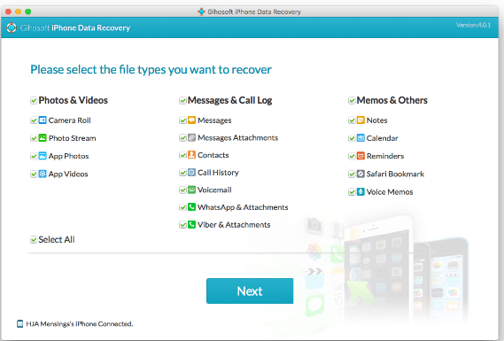 recovering iOS data using Gihosoft iPhone Data Recovery