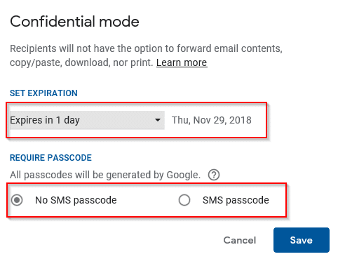 confidential mode options of time expiration and enabling passcodes