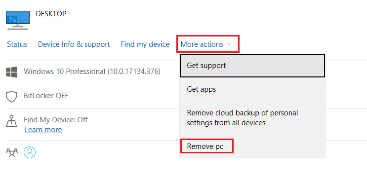 removing linked PCs using Microsoft account management