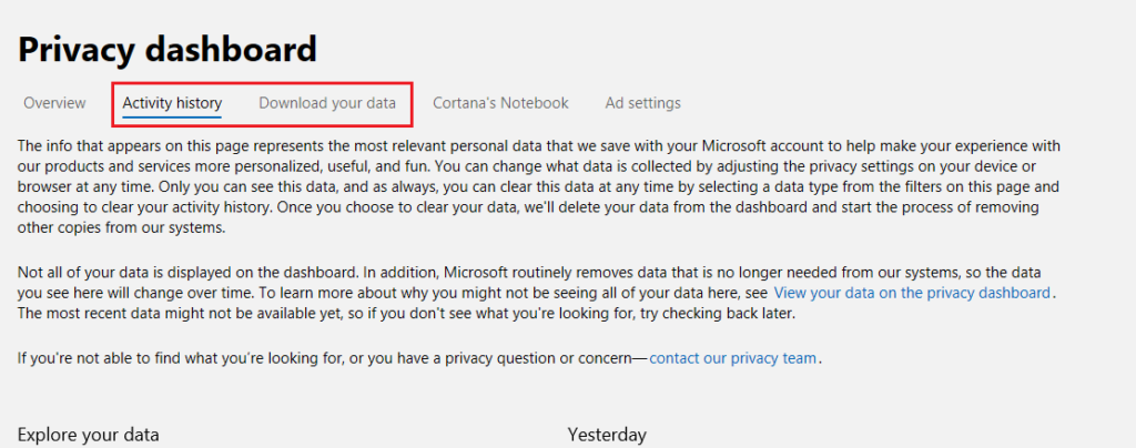 privacy dashboard options from Microsoft account management