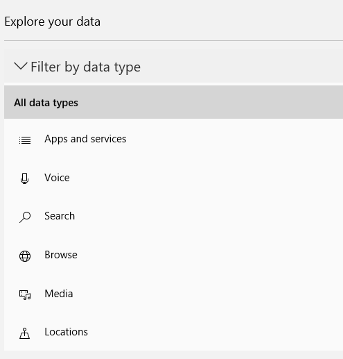 filter data type to be displayed for Microsoft account